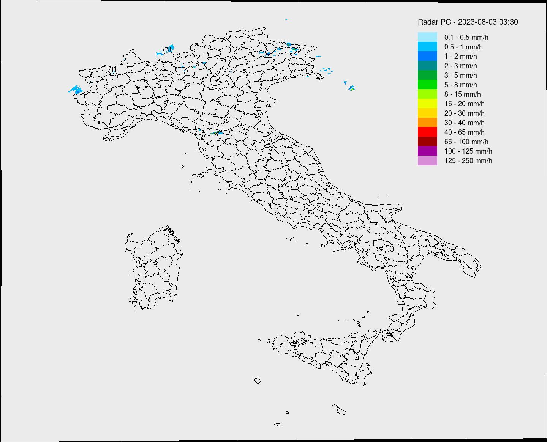 Radar piogge Protezione Civile animato Italia